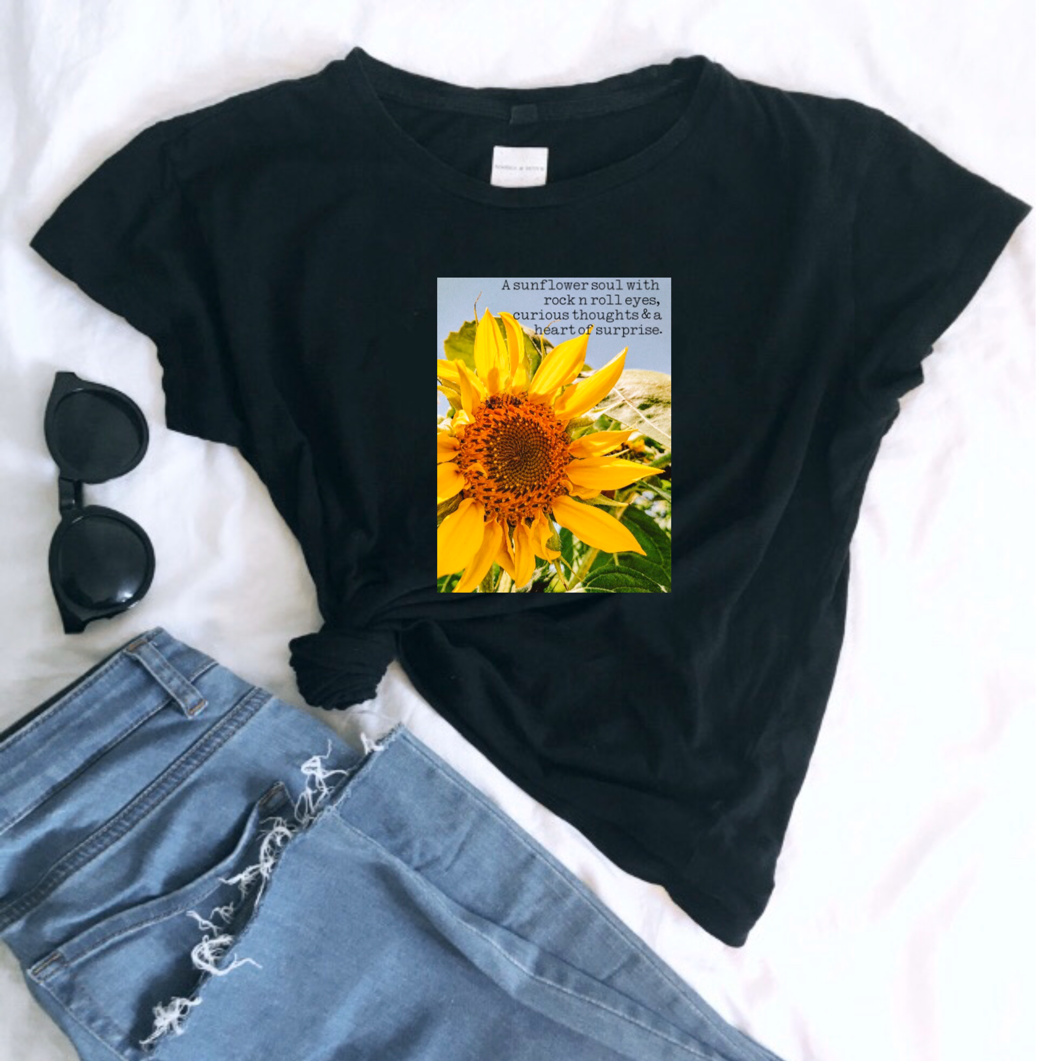 'A Sunflower Soul with Rock n Roll Eyes' Ladies Organic Slogan Tee