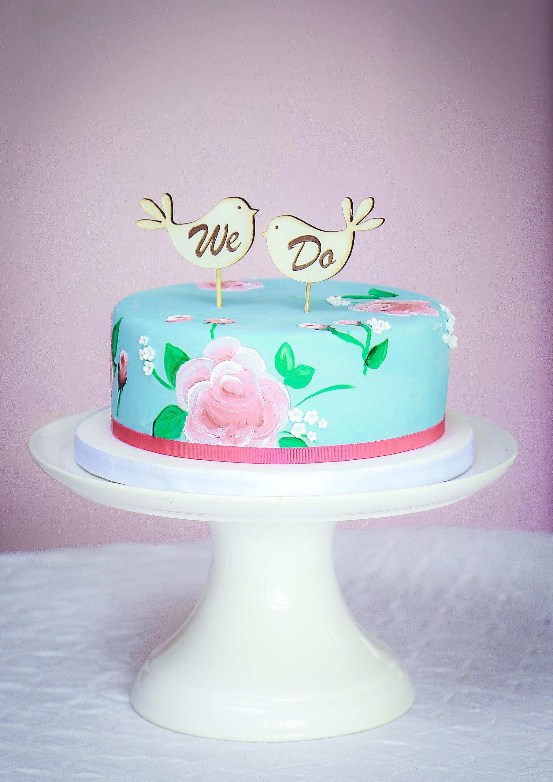 Blue vintage handpainted cake