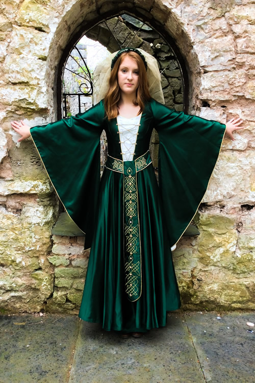 Bottle green batwing medieval dress with celtic knotwork