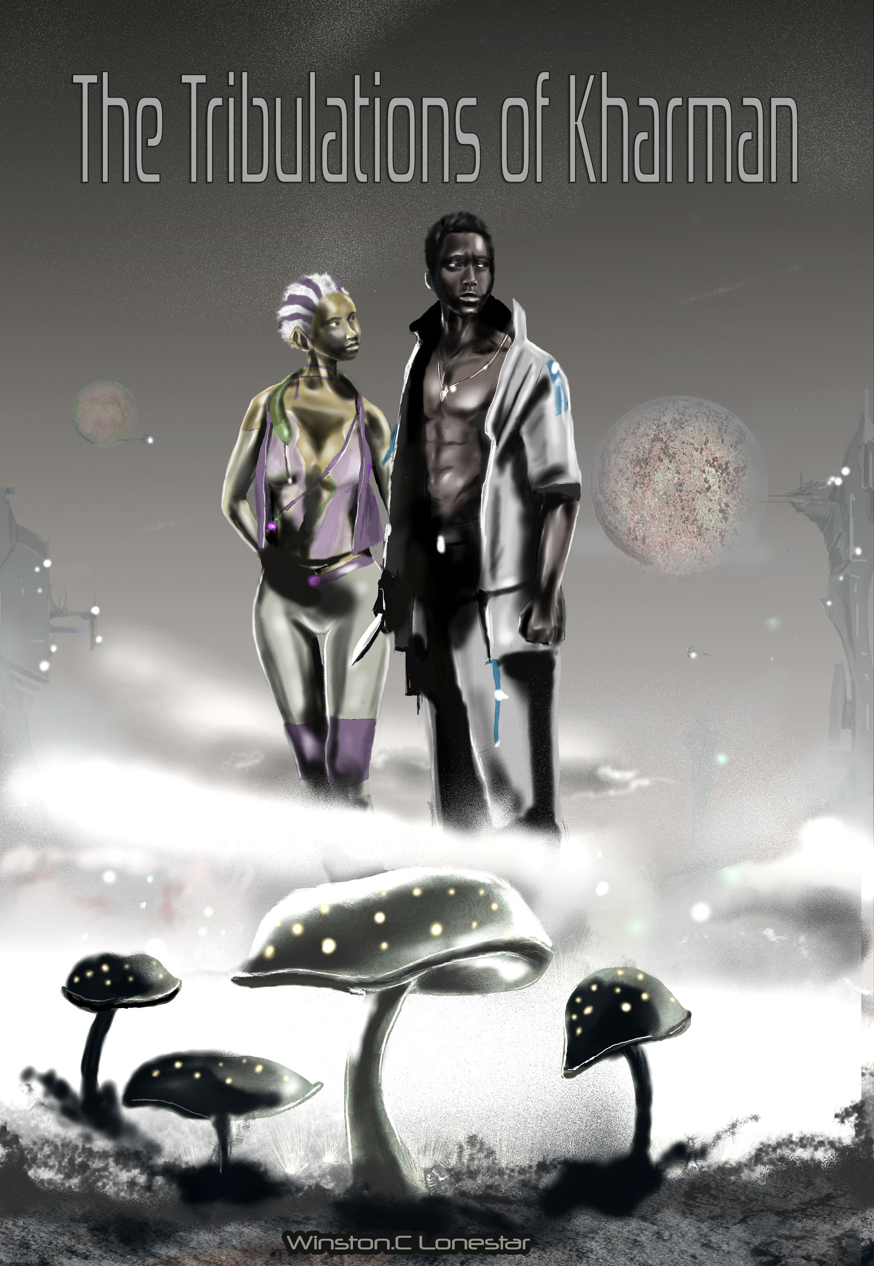 Book Cover, Sci-fi Fantasy book Cover, Black Sci-fi Fantasy, Sci-fi Art, Black Sci-fi Art, black illustration work