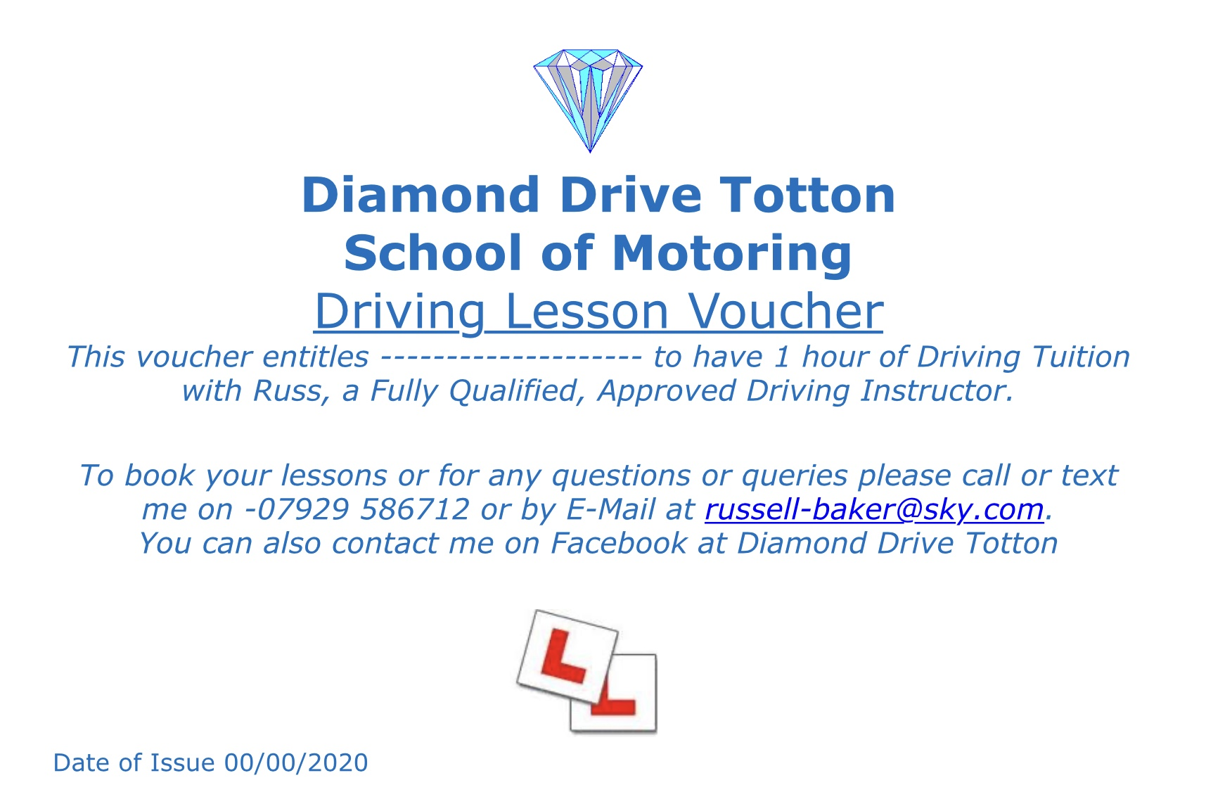 1 hour Driving Lesson Gift Voucher