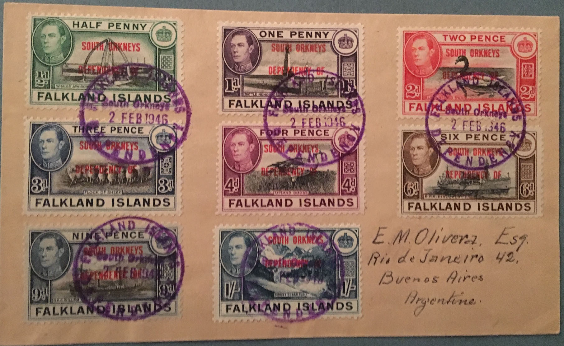 Falkland Dependency cover South Orkney set 1946