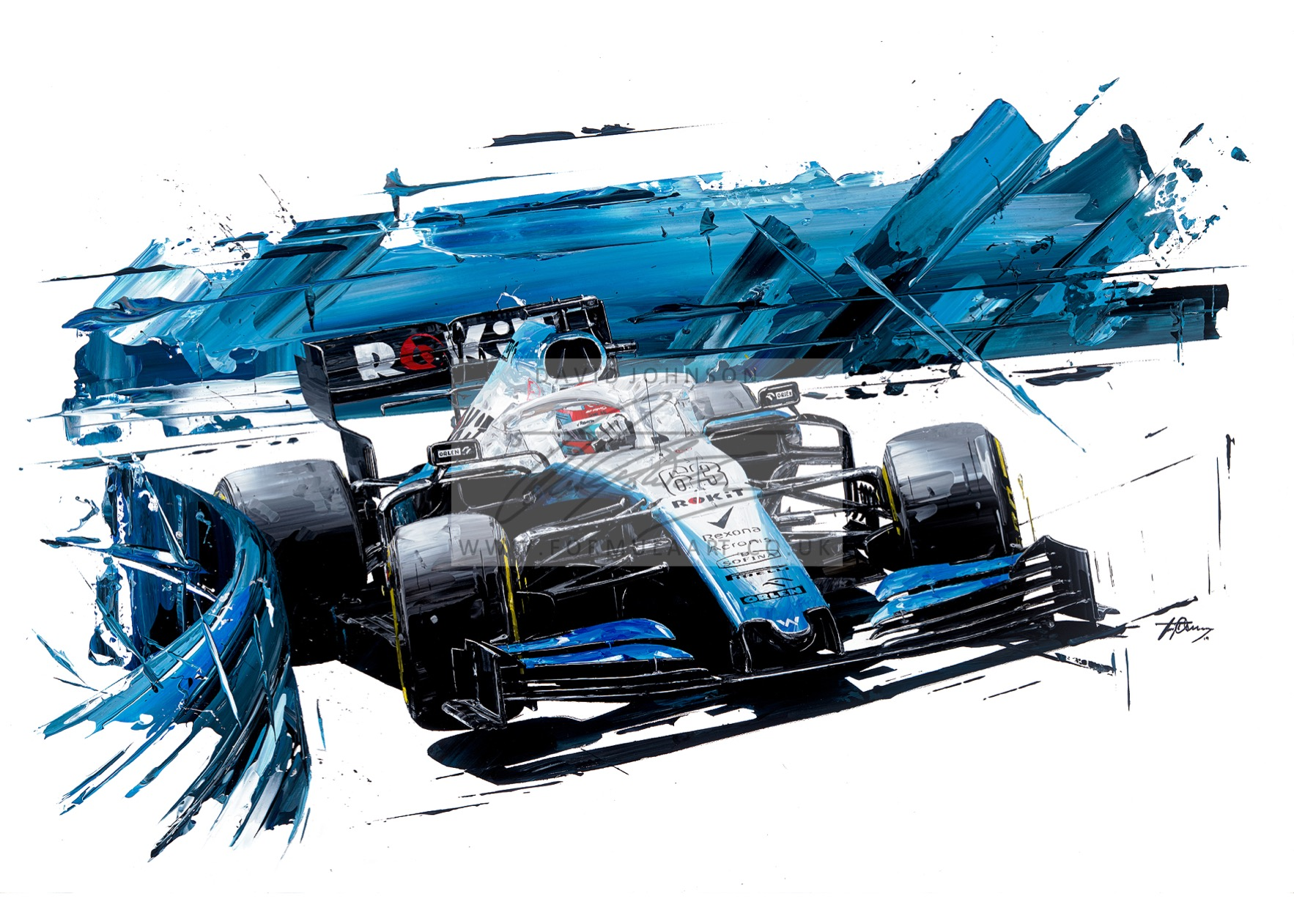George Russell 2019 Williams FW42 hand embellished