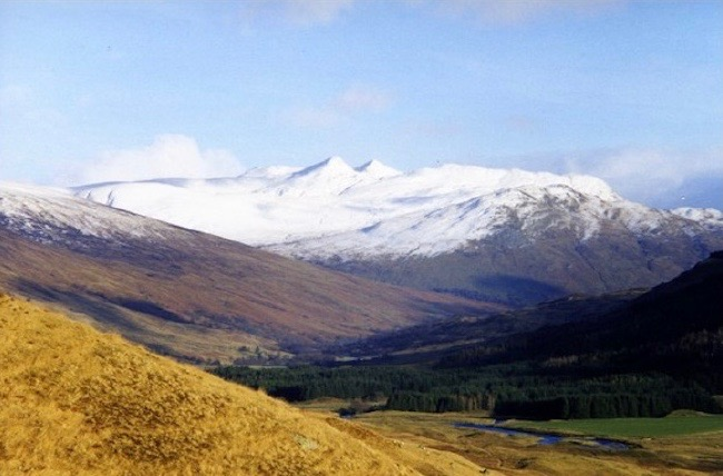Snow-peaked mountains in Scotland