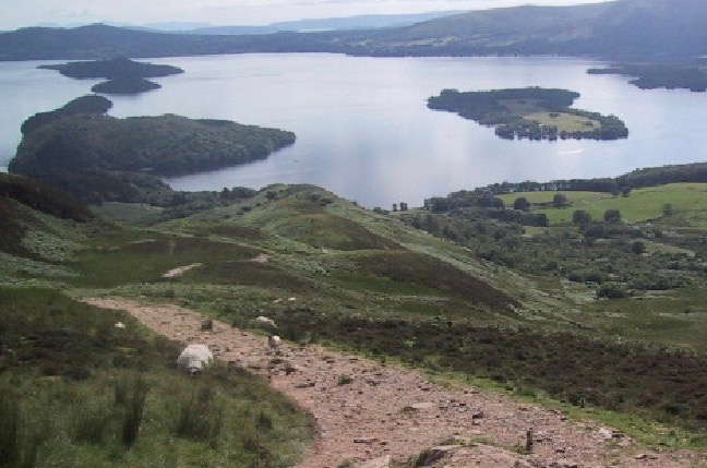 A Scottish loch seen from a hillside