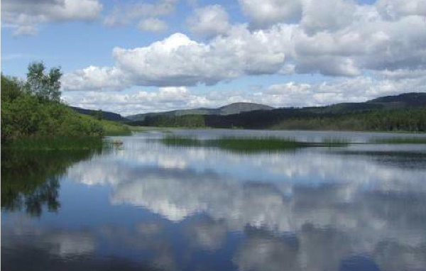 Blue sky and puffy clouds reflected in a Scottish loch