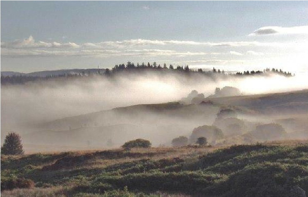 Rolling mist over the Scottish Lowlands