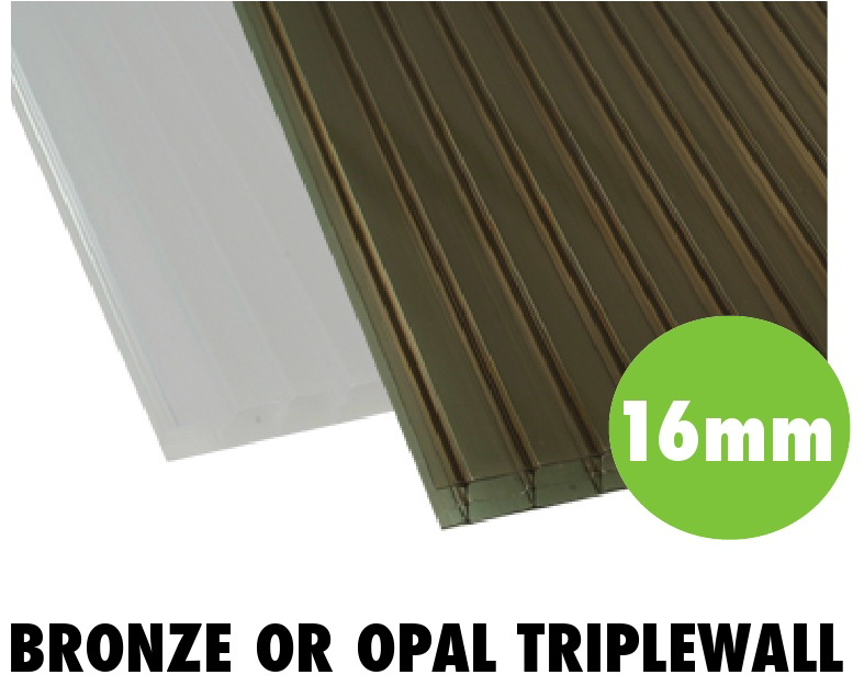 16mm bronze or opal triplewall polycarbonate sheets from Bicester UPVC direct