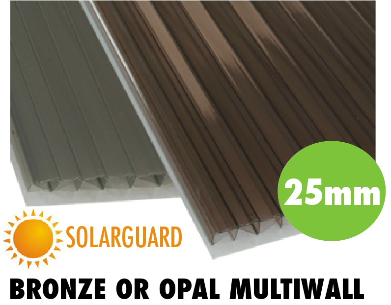 25mm bronze or opal solarguard multiwall polycarbonate sheets from Bicester UPVC direct