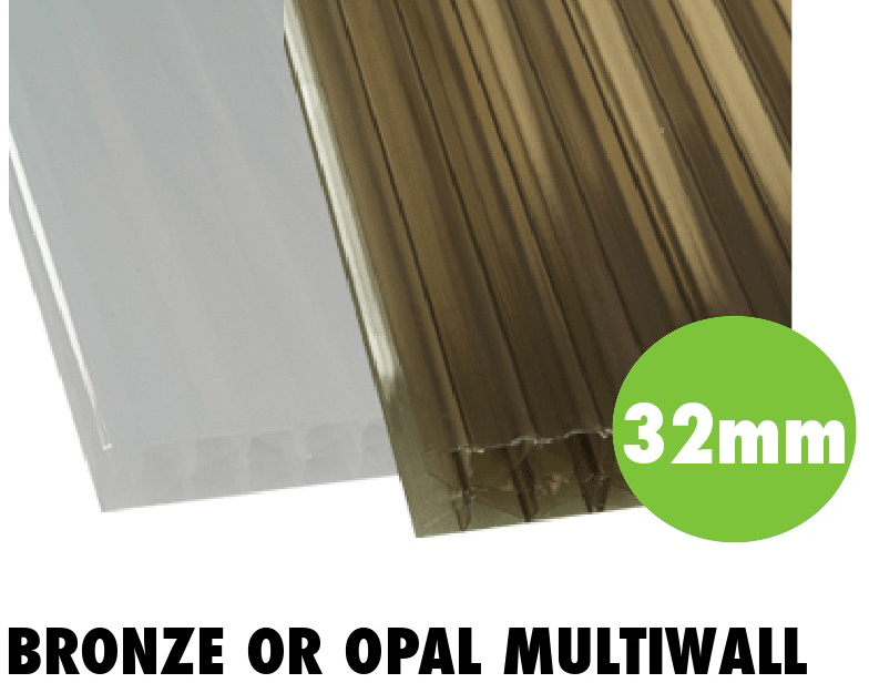 32mm bronze or opal multiwall polycarbonate sheets from Bicester UPVC direct