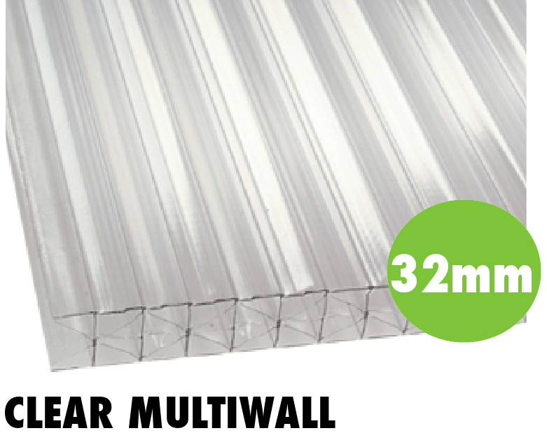 32mm clear multiwall polycarbonate sheets from Bicester UPVC direct