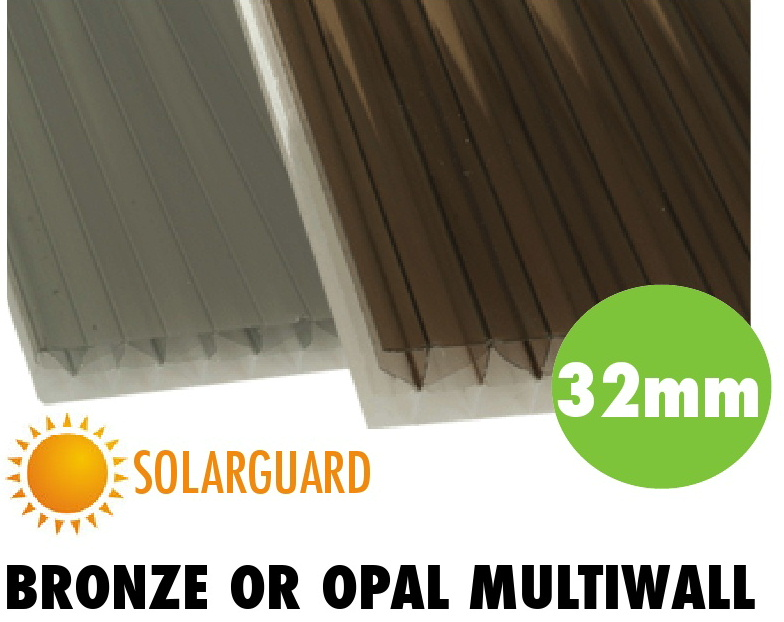 32mm bronze or opal solarguard multiwall polycarbonate sheets from Bicester UPVC direct