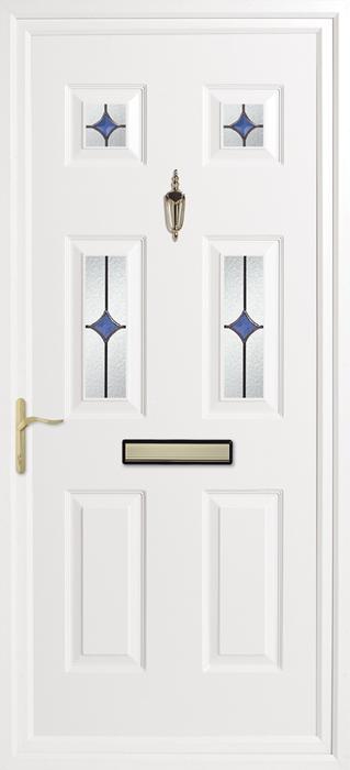 Queen's Oyster Blue upvc panel door from Bicester UPVC direct