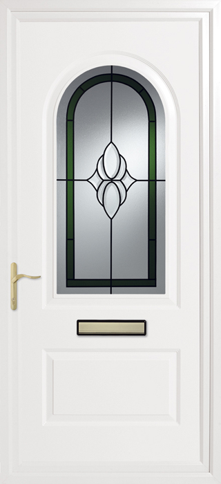 Trinity Green Cluster Inverted Mouldings uPVC panel door from Bicester UPVC direct