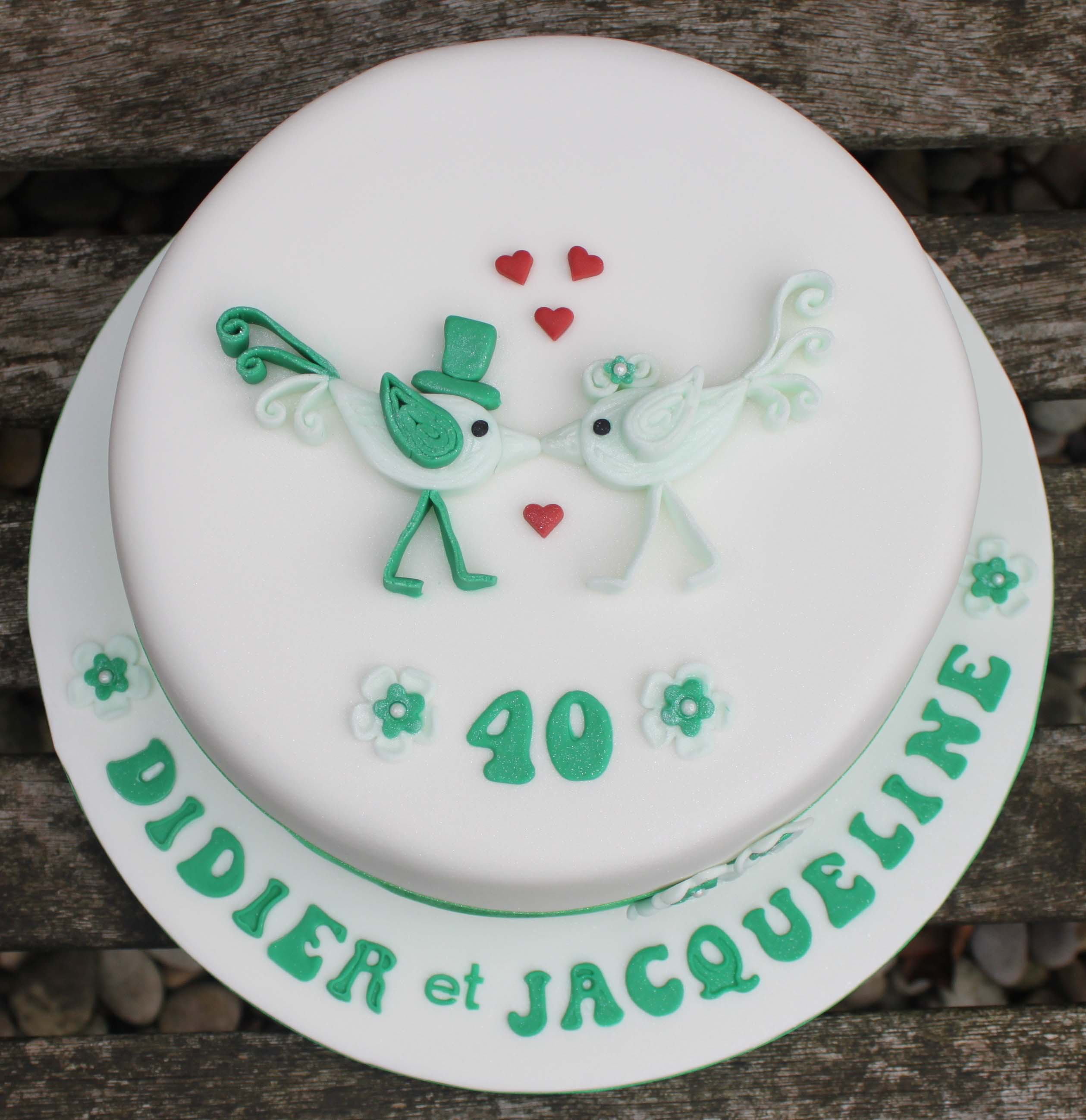 French 40th Emerald anniversary cake