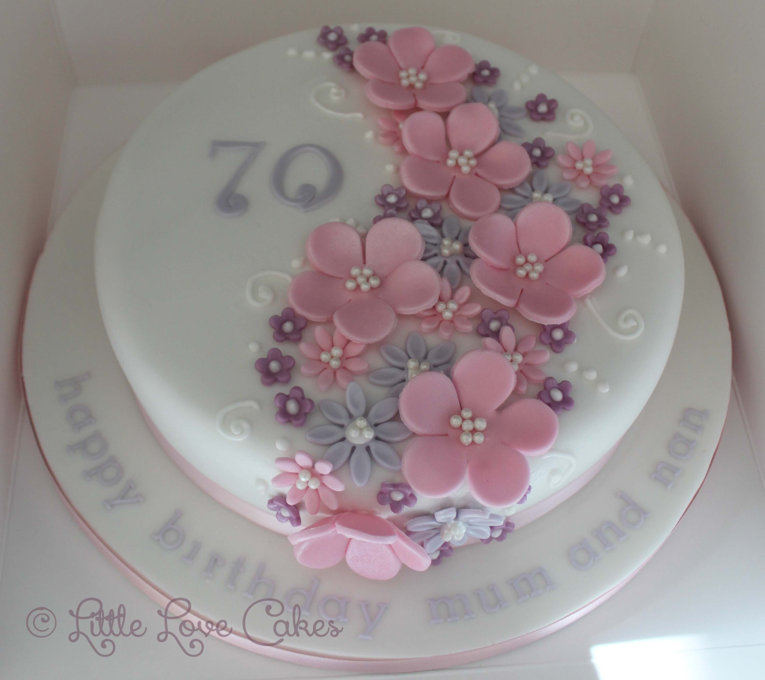 Pink and purple flower cake