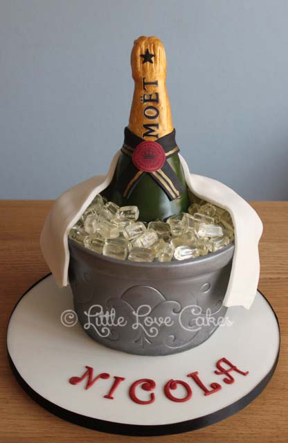 Moet champagne and ice bucket cake