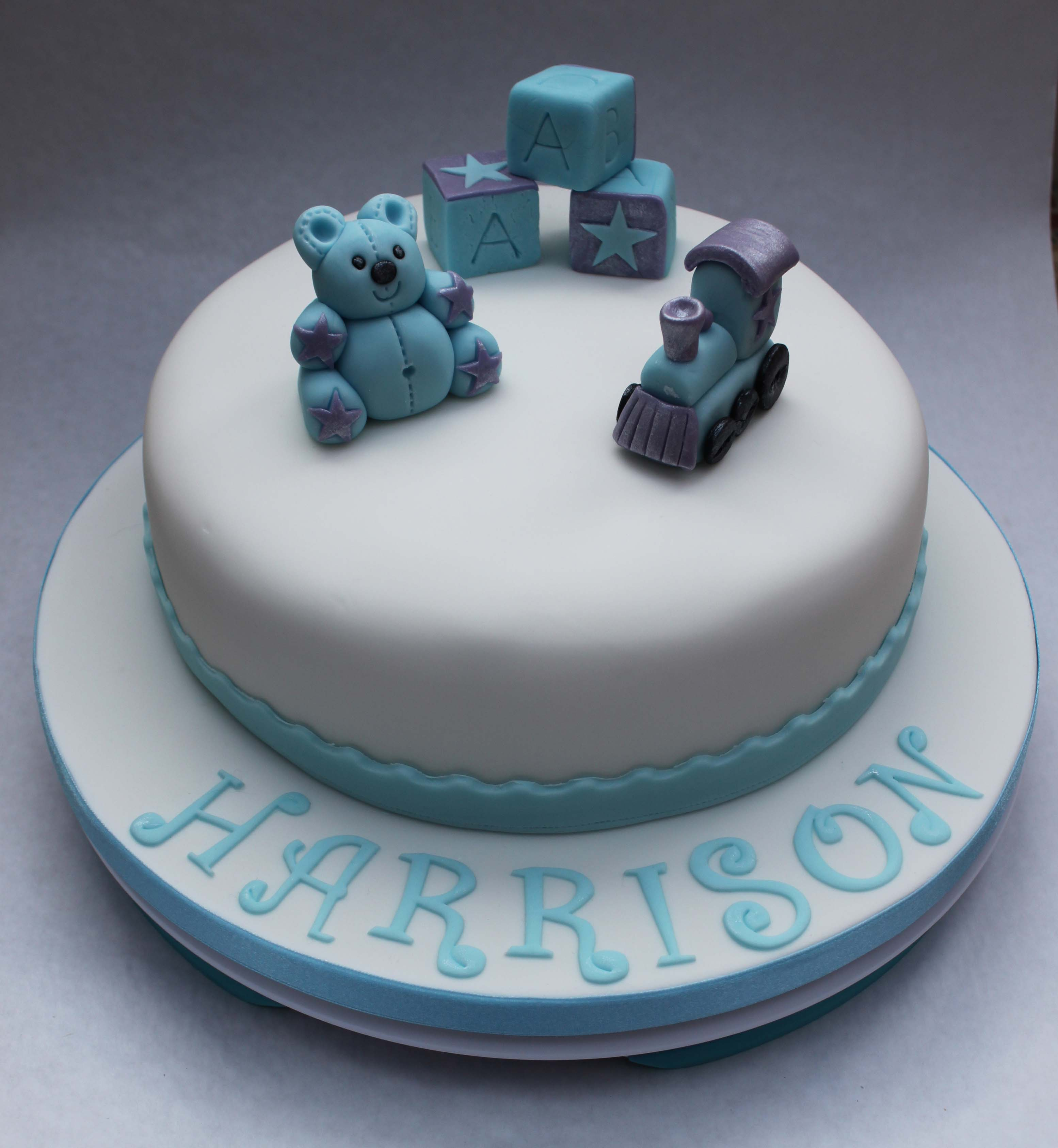 Blue and purple christening cake