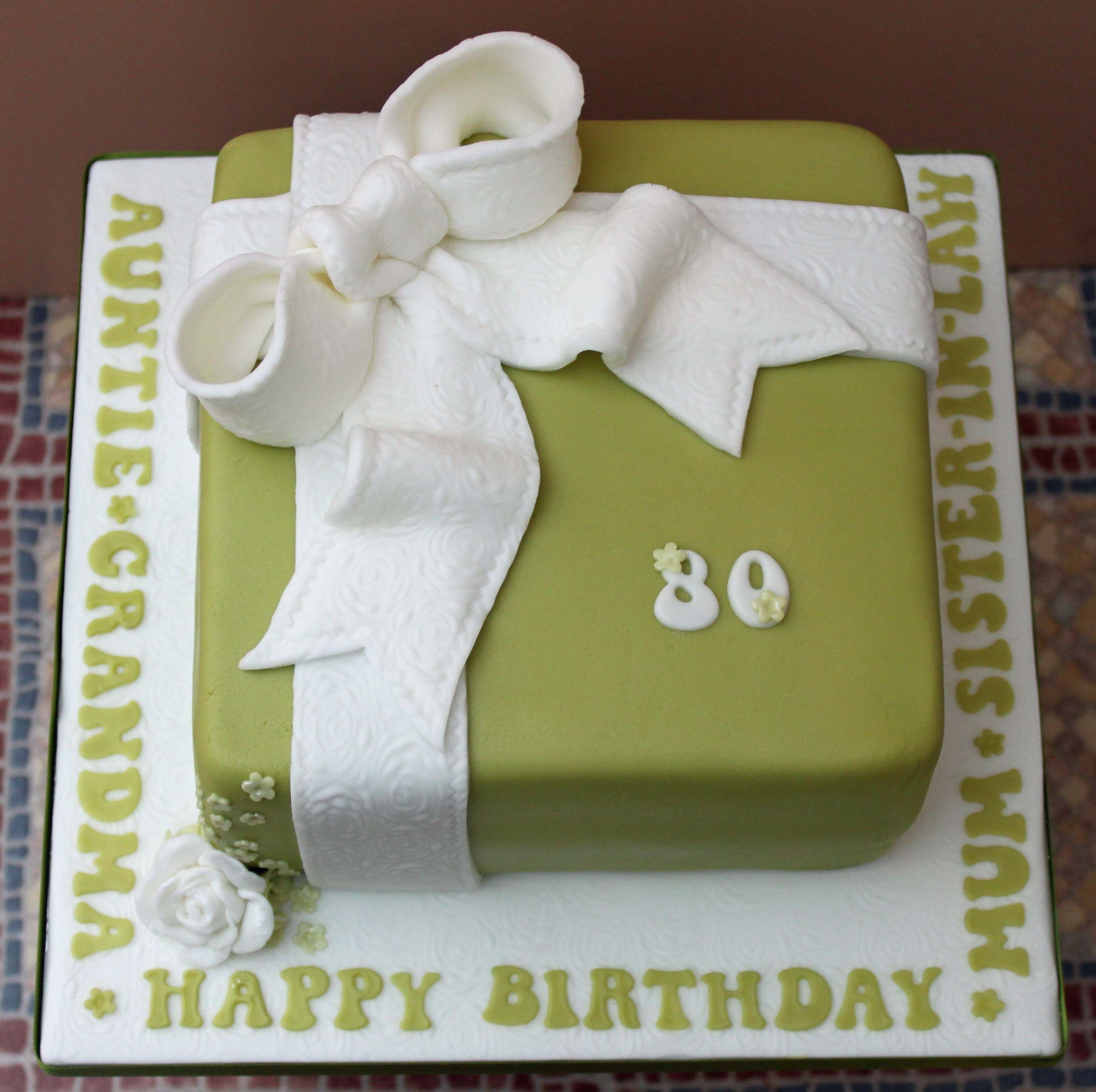 Green birthday present cake