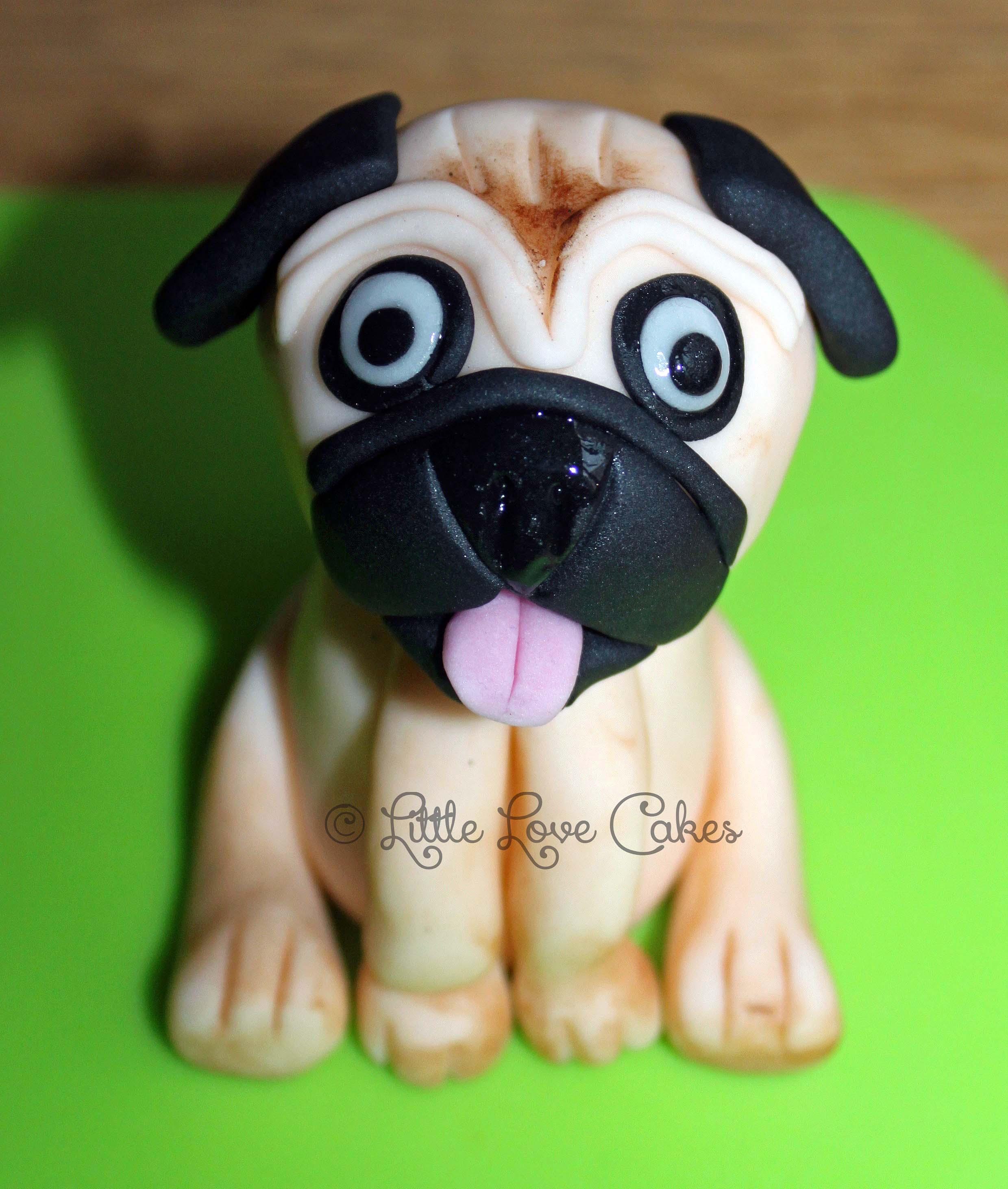 Pug cake topper