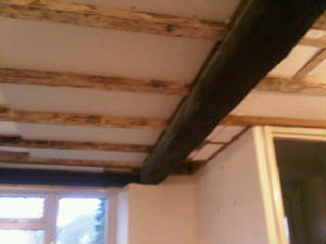 plasterboard and skim inbetween beams