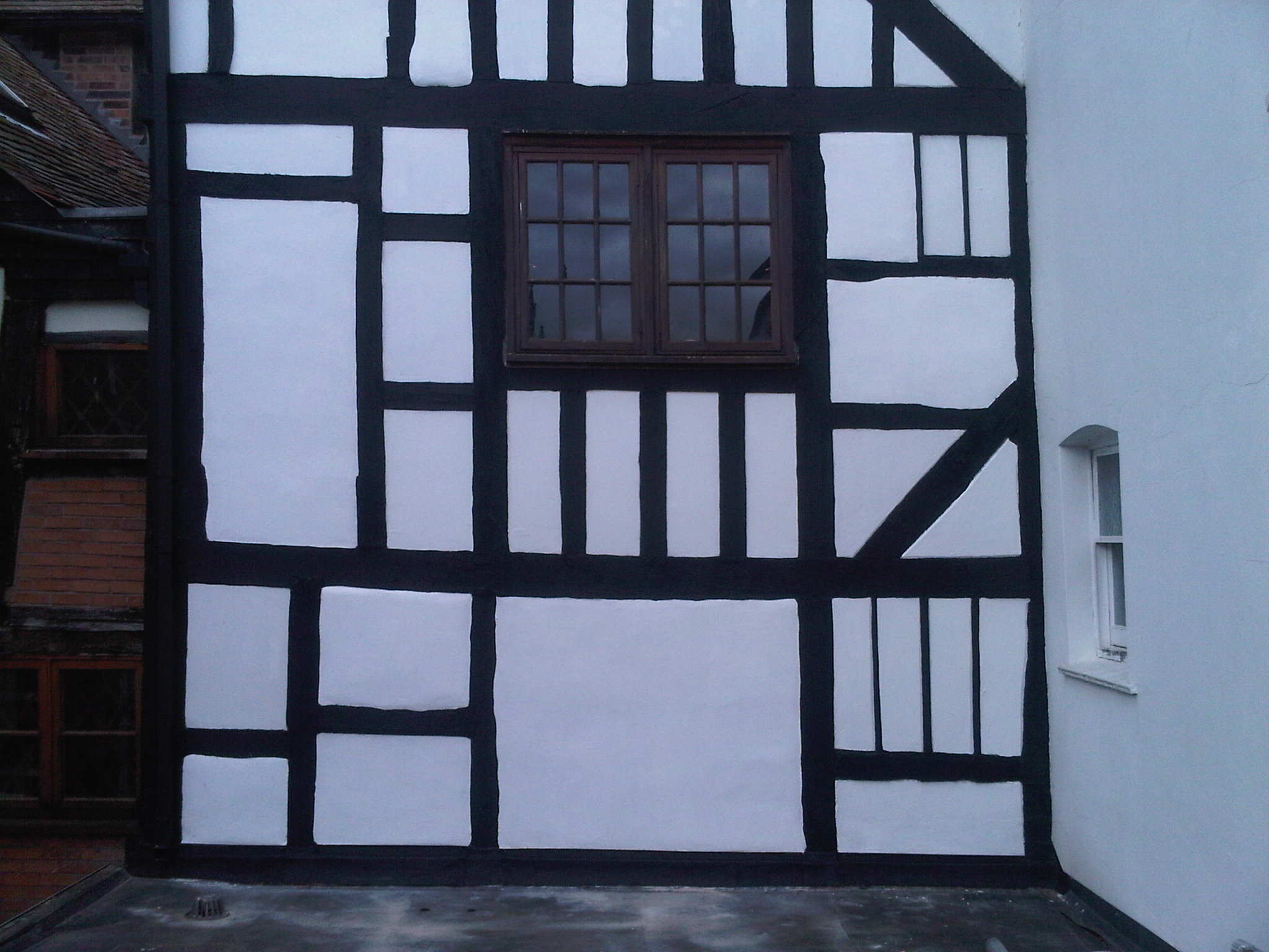 tudor frame repainted and re rendered in lime