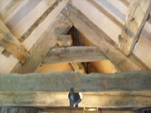 oak roof with plastering inbetween beams
