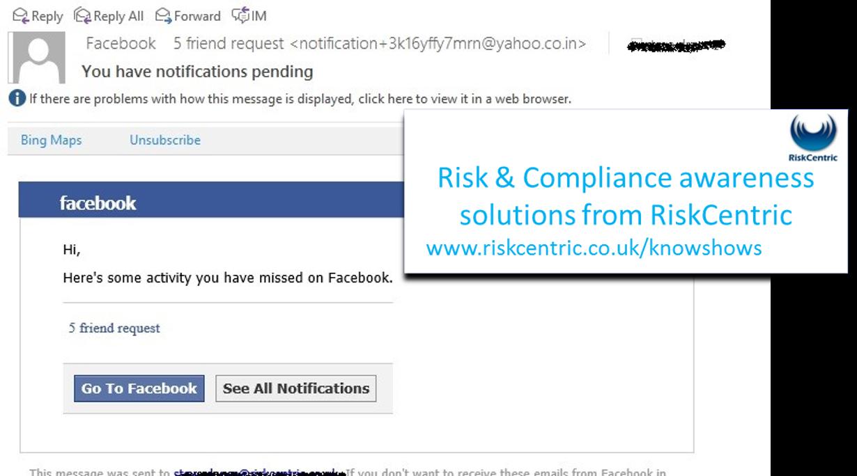 Facebook phishing email