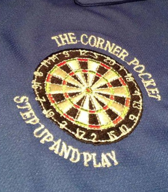 Darts teams shirts from DG Embroidery of Stranraer for The Corner Pocket