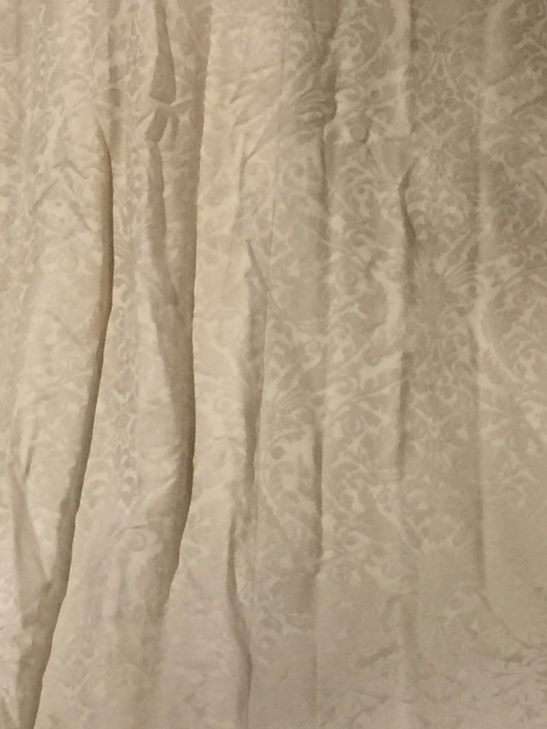 Cream Damask Interlined Pencil Pleat Curtains W77 D86