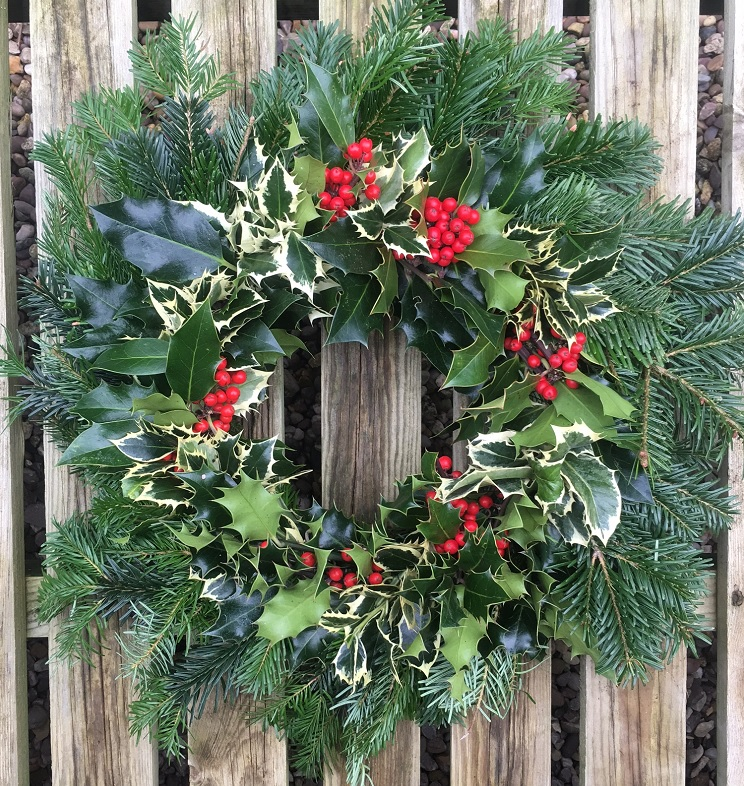 Mixed Decorated Nordman Fir & Holly Wreath £25