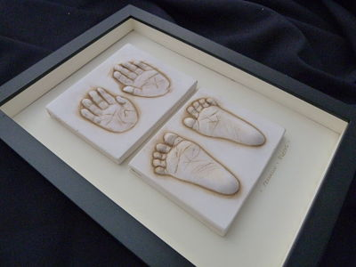 Framed Baby imprint tiles hands and feet