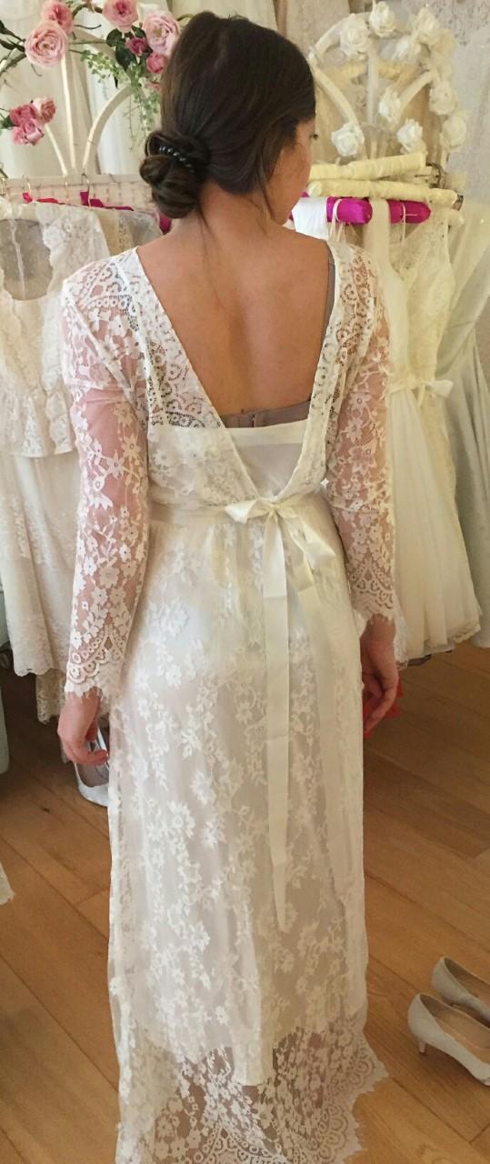 bohemian wedding dress with long sleeves