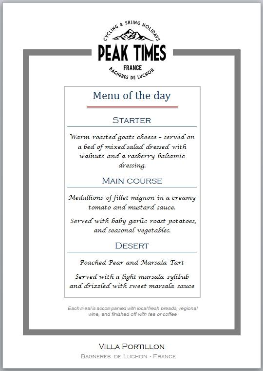 Sample menu at Villa Portillon