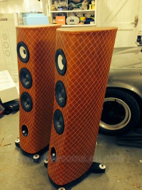 Custom stitched and leather trimmed speakers