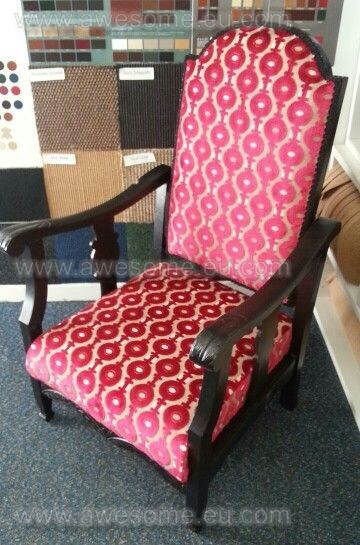Reupholstered arm chair