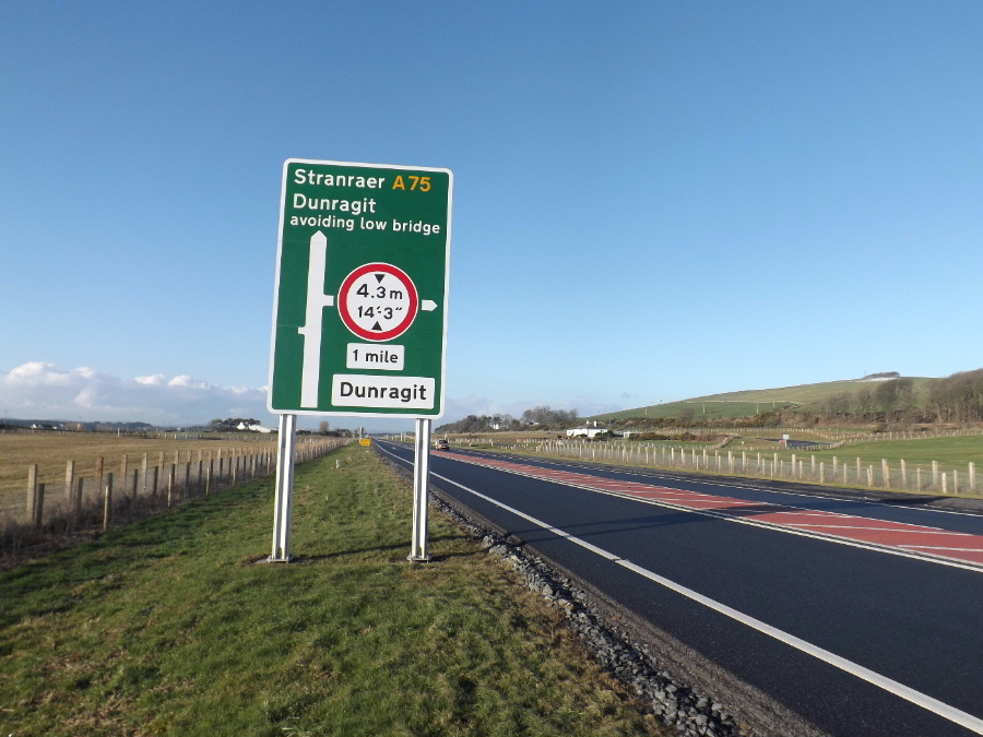 A75 towards new Dunragit bypass