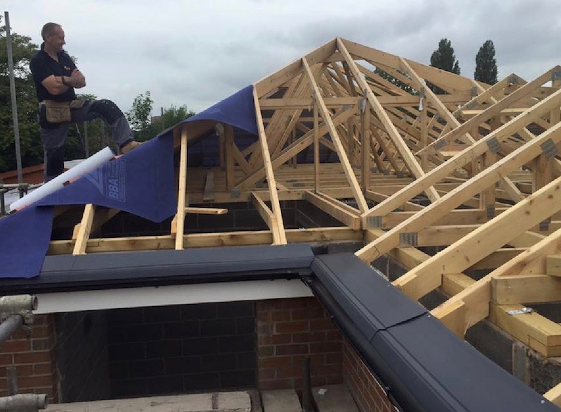 Roofing contractors Stoke on Trent completing a roofing job