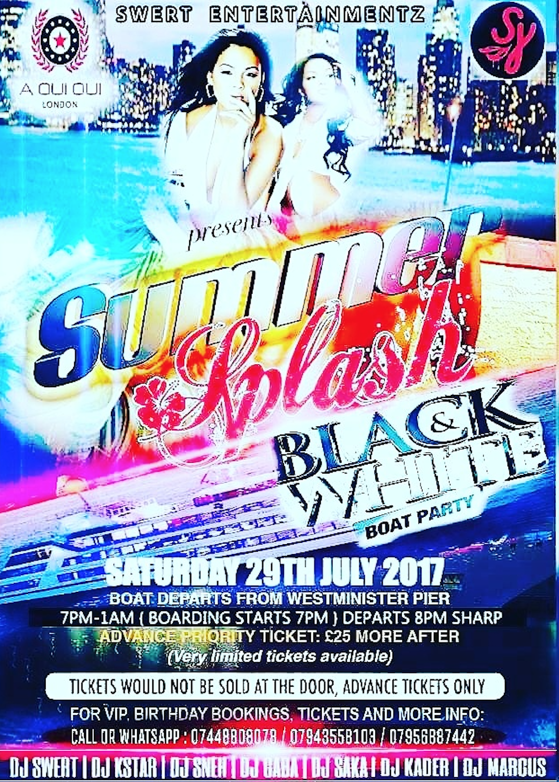 Summer Splash Boat Party  Saturday 29th July 2017