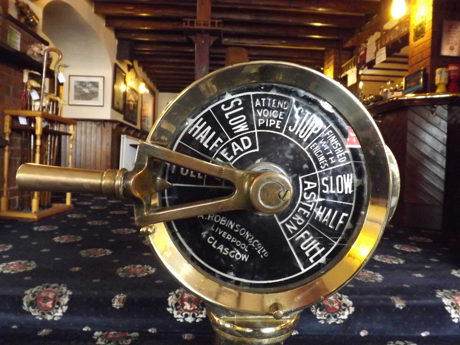 The ship's throttle at The Mariner Hotel Kippford Dumfries and Galloway Scotland