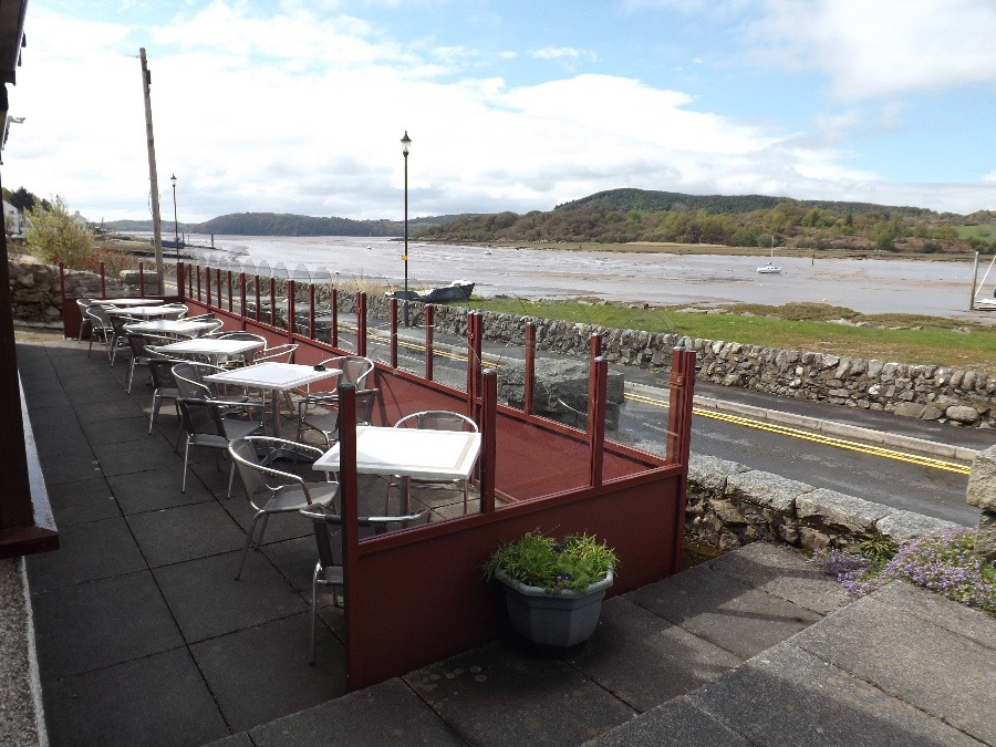 Outside terrace seating at The Mariner Hotel, Pub and Restaurant in Kippford near Dalbeattie, south west Scotland