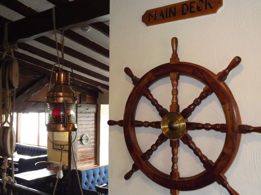 A ships wheel at The Mariner Hotel Kippford Dumfries and Galloway Scotland