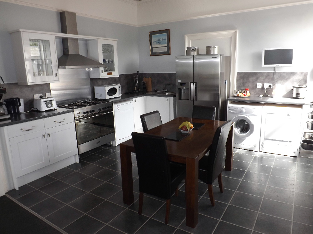 The well-equipped contemporary kitchen at Braefield House self-catering Holiday accommodation in Portpatrick