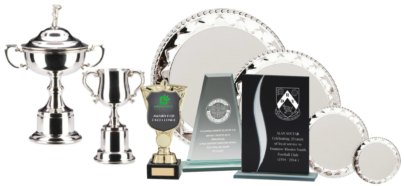 Trophy suppliers Stranraer displaying a range of cups, salvers and plaques engraved for local heroes
