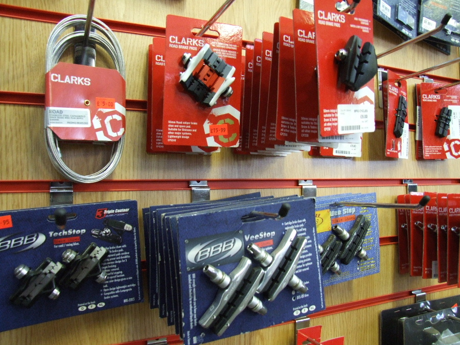 A range of bike and cycle spares.