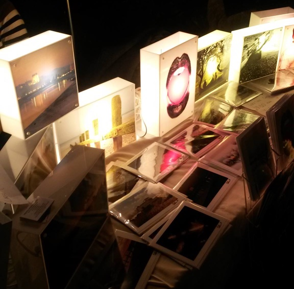 Example of several light boxes on a table.