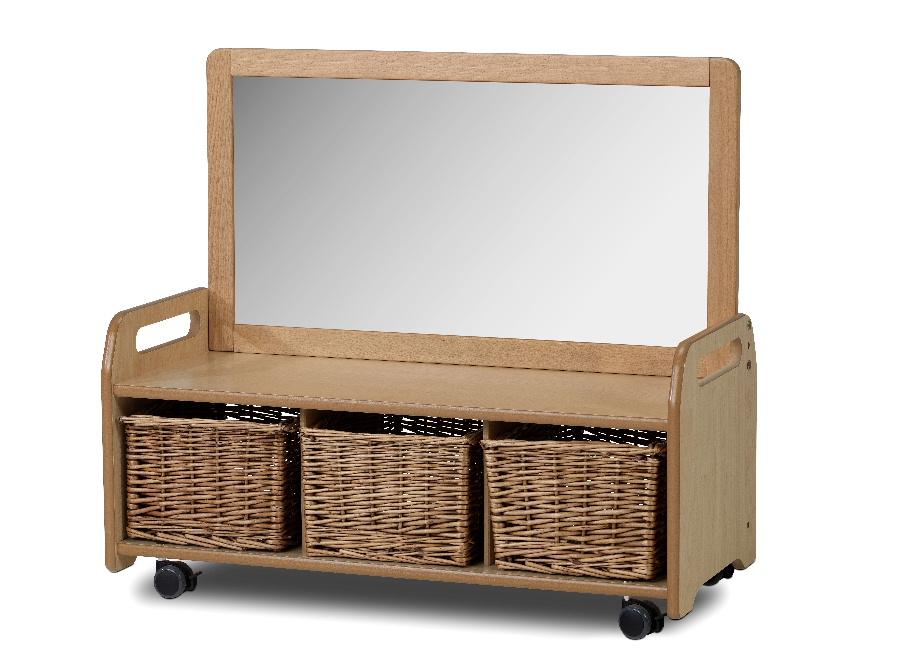 mobile mirror storage unit with wicker baskets pt583. Black Bedroom Furniture Sets. Home Design Ideas