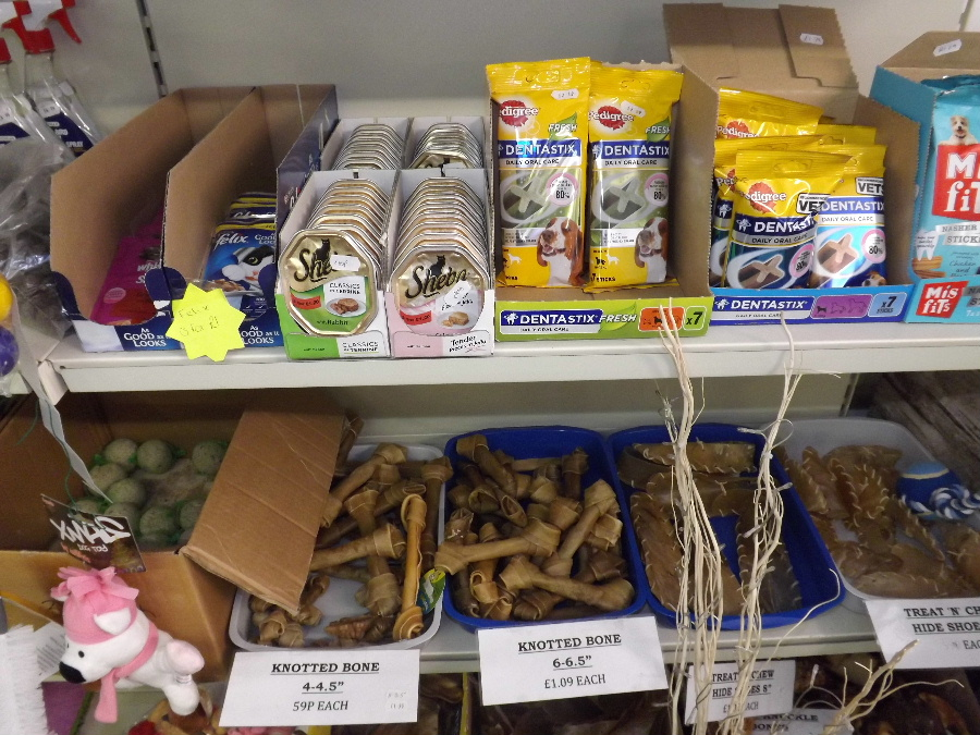 Pet shop products at the Castle Douglas Garden Centre