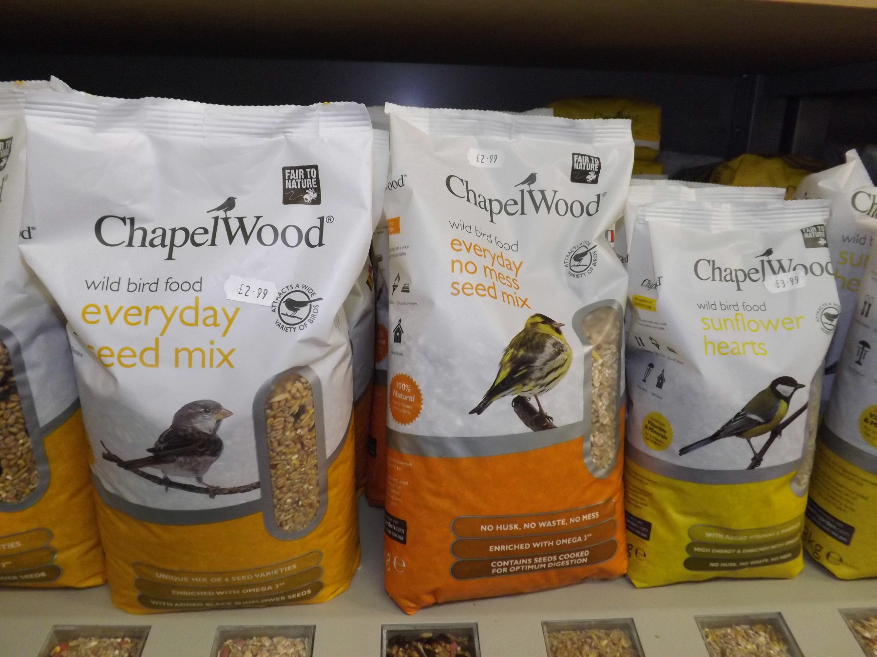 Chapel Wood wild bird feed and bird feeders from Castle Douglas Garden Centre