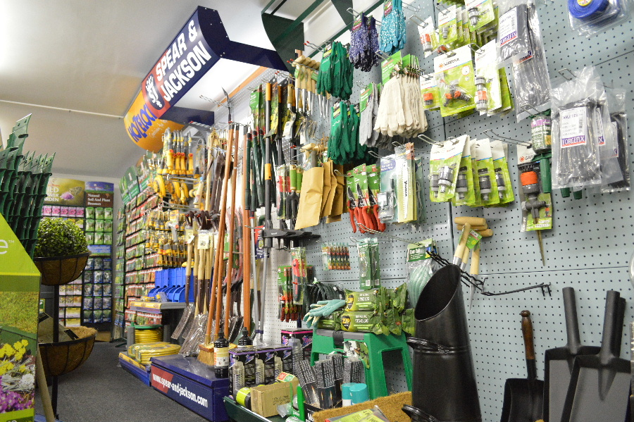 Tools and garden hose attachements at the Castle Douglas Garden Centre